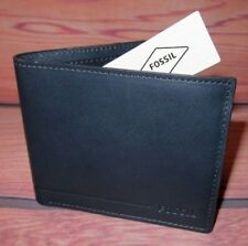 MENS FOSSIL BIFOLD NAVY BLUE LEATHER WALLET