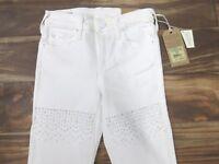 """True Religion """"Halle"""" Super Skinny Swarovski Crystal Jeans in White Size: 24"""