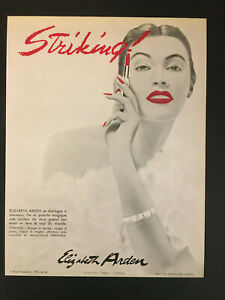 ANCIENNE PUBLICITE STRIKING ELIZABETH ARDEN 1951 SUR BRISTOL EPAIS 24X31 CM