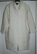 ** New Sz 16 H&M Cream Chenille Boucle Duster Coat Jacket Warm knee Length