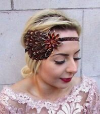 Brown Natural pheasant feather Headpiece 1920 S Headband Flapper Vintage 30 S 4742