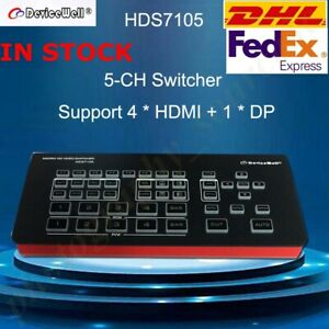 DeviceWell HDS7105 Mini Switcher 4 HDMI+1 DP inputs Video Switcher fr Youtube TV
