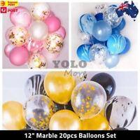Marble Confetti Helium Balloons (20pcs) Pink/Black Gold/Blue Balloon AUS