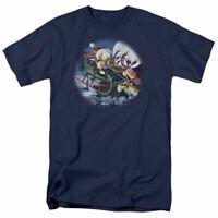 Garfield Moonlight Ride T Shirt Mens Licensed Christmas Comic Tee Navy