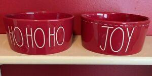 "RAE DUNN "" HO HO HO "" & "" JOY "" RED W/ WHITE LL DOG / PET CERAMIC BOWLS NEW 2"