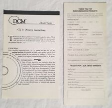 DCM CX-17 Owner's Instructions & Warranty Card Audiophile Coaxial Speaker Manual
