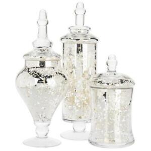 Silver Mercury Glass Apothecary Jars, Set of 3, Wedding Centerpiece Candy Buffet