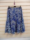 LADIES BLUE & WHITE JERSEY STRIPED WITH BLACK MESH DETAIL SKIRT SIZE12 BNWT
