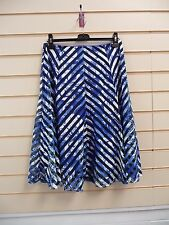 REDUCED  LADIES BLUE & WHITE JERSEY STRIPED MESH EFFECT DETAIL SKIRT SIZE12 BNWT