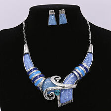 Crystal Rhinestone Blue Mysterious Choker Pendent Necklace Earrings Set Jewelry