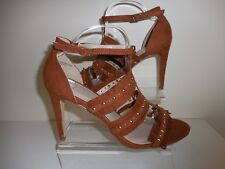 TAN STRAPPY STUDDED FRINGED STILETTO SHOES SIZE 9 STANDARD FIT NEW FROM EVANS