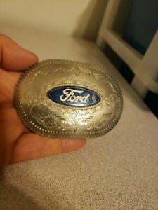 Vtg Ford Motor Company Belt Buckle With Blue Enamel Emblem