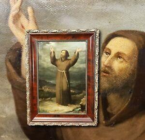Heiliger Franziskus empfängt Wundmale Stimmungsvolles antik Ölgemälde 19. Jhdt.