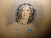 Antique 1800`s  att Alfred Chalon watercolor beautiful woman portrait painting