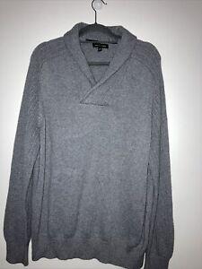 Designer Banana Republic Grey Knit Jumper Pullover With Shawl Collar COTTON XL
