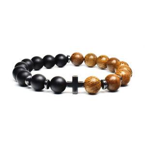 Natural Frosted Wood Bead Cross Men Women Lucky Charm Energy Bracelet Bangle UK