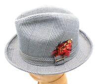 NOS Vintage Men's Hat  Stetson Trilby Fedora Olive Herringbone Plaid Rat Pack