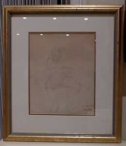 HAL AMBRO WALT DISNEY STUDIOS ANIMATOR 1940 SIGNED ANIMATION DRAWING