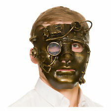 Deluxe Steampunk Robot Mask Mens Gold Mask With Eye Glass Fancy Dress
