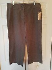 Jenne Maag Black White Ladies Size 14 Cropped Tweed Brown Pants (New)