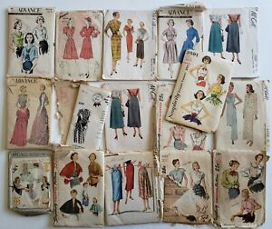Vintage 40s 50s Sewing Pattern Lot of 16 Misses McCall Simplicity Advance +