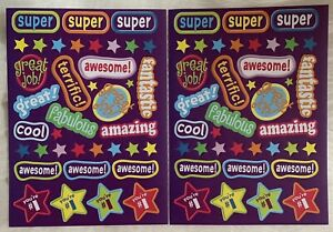 Darice STICKERS 2 sheets 76 REWARD STICKERS Amazing Cool Fantastic Awesome Great