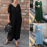 ZANZEA 8-24 Women Short Sleeve V Neck Side Slit Kaftan Abaya Long Maxi Dress