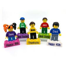 Personalised Minifigure on a Personalised Brick- made using up-cyled LEGO® parts