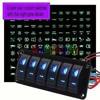12/24V Car Marine Boat 6 Gang Dual Blue LED Rocker Switch Panel Breaker & Decal