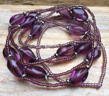 Set Of Vintage Style Purple Glass Bead Bracelets/Retro/Bobble/Hippy/Boho/Cluster