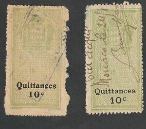 Monaco Revenue Stamps - 2 10 cent Quittances used stamps
