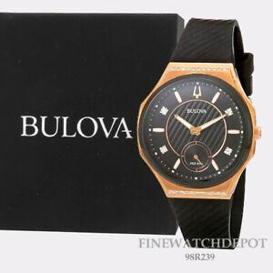 Authentic Bulova Ladies Curv Rose Gold Tone Black Dial with Diamond Watch 98R239