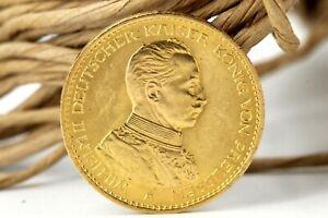 20 Goldmark 1914 A Preussen 900 Goldmünze Wilhelm II Kaiserreich Jäger 253 #M02