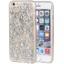 For iPhone SE & 5S - TPU RUBBER GUMMY CASE COVER SILVER SPARKLING FOIL FLAKES