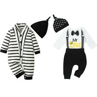 Newborn Baby Boys Outfits Romper Clothes Jumpsuit Bowknot Tops Pants Set Casual