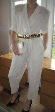 VTG White DEEP-V Jumpsuit with Gold Trim by JSJ Petites