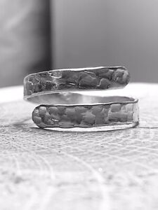 Sterling Silver 925 Mens Wrap Ring Hammered Texture Thumb Or Finger, Adjustable