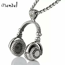 MENDEL Mens Headphone Music Hip Hop DJ Rapper Necklace Pendant Jewelry Chain