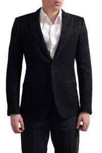 Dolce & Gabbana Tailored Men's Black Floral Print Sport Coat Blazer US 38 IT 48