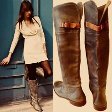FRYE PAIGE OVER THE KNEE RIDING BOOTS BROWN LEATHER 9 $425 RARE 2008 FREE PEOPLE