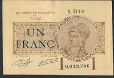 LA FRANCE JOURNAL local argent Chambre de Commerce de PARIS 1 Franc 1920 AAU