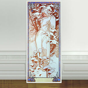 "Stunning Alphonse Mucha Winter ~ CANVAS PRINT 24""X10"" Art Nouveau"