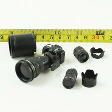 """1/6 Scale Black Canon EOS-1 DSLR Camera with 3 Lens Miniature for 12"""" Figure"""