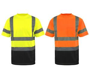Hi Vis T Shirt ANSI Class 3 Reflective Safety HIGH VISIBILITY Black Bottom 34