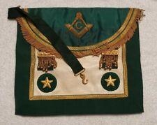 Old Scottish Masonic Green Apron Master Mason Gold Snake Belt