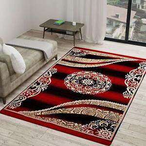 Maroon, Velvet Printed Carpet Of 5 x 7 Ft - Hand Wash Only - Rectangular Shape