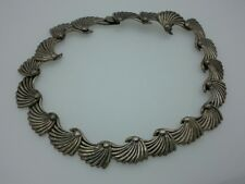 Vintage Mexico Sterling Silver Modernist Tidal Wave Necklace