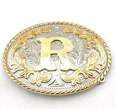 """Initial """"R"""" Letter Oval Gold & Silver Rodeo Western Cowboy Metal Belt Buckle"""