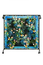 Johnny Was Jungle Scarf Black Green Blue Flower Multi Tropical Paradise