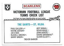"""1976 Scanlens Checklist ST. KILDA """" """""""
